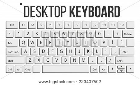 Keyboard Isolated Vector. Layout Template. Classic Keyboard. White Buttons. Computer Desktop. Electronic Device. Isolated Illustration