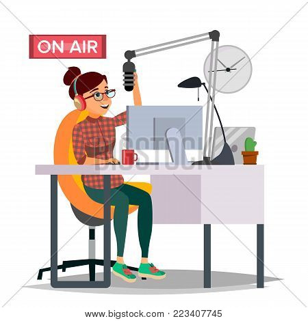 Radio DJ Woman Vector. Broadcasting. Modern Radio Station. Female Speak Into The Microphone. On Air. Broadcasting. Isolated Flat Illustration