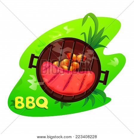 BBQ vector illustration, appetizing steak is grilled on outdoor