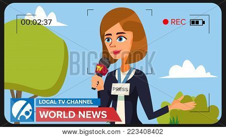 Special Correspondent Performing News Report. Vector Concept. Video Camera Viewfinder. Female Recording TV News. Production Video. Woman Reporter. Outside Broadcasting Cartoon Character Illustration