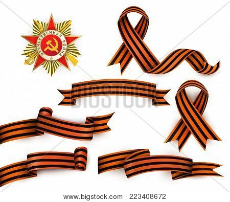 Set of realistic Saint George ribbons and Order of Patriotic War, symbols of Russian Victory day, vector illustration isolated in white background. Russian Georgian ribbons and order of patriotic war