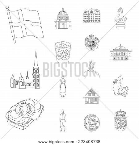 Country Denmark outline icons in set collection for design. Travel and attractions Denmark vector symbol stock illustration.
