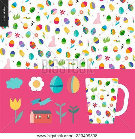 Seamless Easter pattern with a mug as an example of usage and few traditional elements