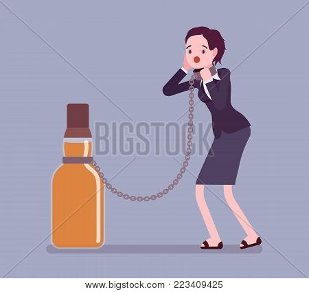 Woman with bottle in alcohol dependency. Young frustrated person with addiction to alcoholic drink, tied with chain to a giant bottle. Vector flat style cartoon illustration isolated, white background