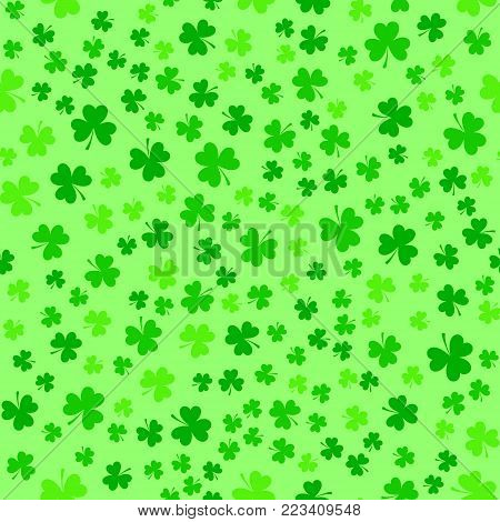 Bright green clover leaves, seamless pattern. Minimal vector background. Flat illustration of clover icon. St Patrick's background.