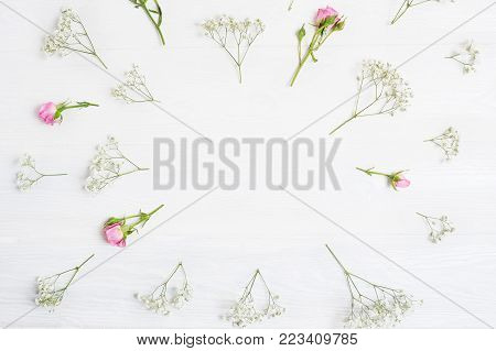 Mock up Composition of white and pink flowers rustic style, for St. Valentine's Day with a place for your text. Flat lay, top view photo mock up.