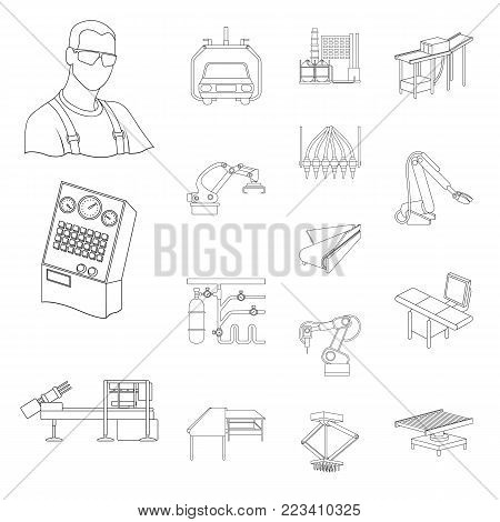 Equipment and machine outline icons in set collection for design. Technical progress of the factory vector symbol stock illustration.