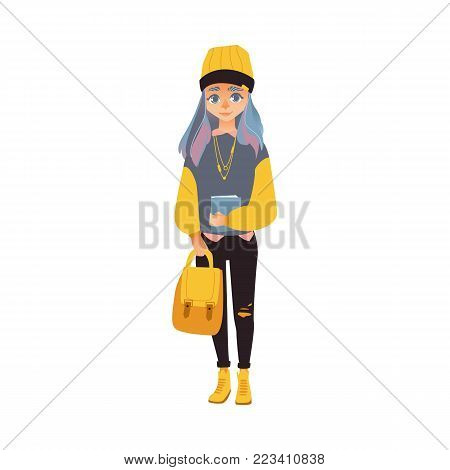 Vector cartoon young smiling teen student girl holding book, backpack. University, college cute female character, woman modern casual outfit jeans hat grey hair. Isolated illustration white background