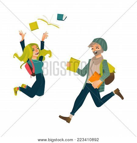 Students, boy and girl, jumping from happiness, celebrating success, throwing books up, flat comic vector illustration isolated on white background. Happy male and female students jumping