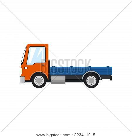 Orange Mini Lorry without Load Isolated on White Background, Delivery Services, Logistics, Shipping and Freight of Goods, Vector Illustration