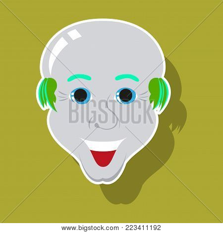 realistic paper sticker on theme humor bald-headed man
