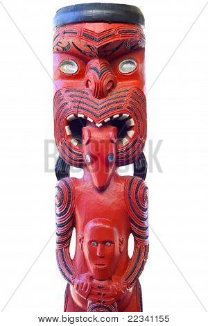 Maori Statue Painted in Traditional Red and Black