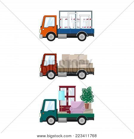 Set of Small Cargo Trucks, Van with Windows, Red Mini Lorry with Boxes, Green Truck with Furniture, Transport and Delivery Services, Logistics, Vector Illustration