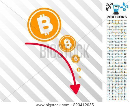 Bitcoin Deflation Trend icon with 700 bonus bitcoin mining and blockchain design elements. Vector illustration style is flat iconic symbols designed for bitcoin software.