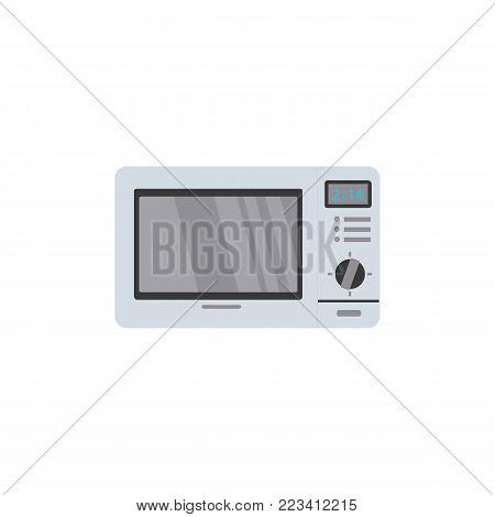 Microwave oven with timer, selection knob and closed door, flat style vector illustration isolated on white background. Flat style front view picture of microwave oven