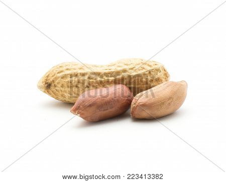 One whole peanut and two raw in husk isolated on white background