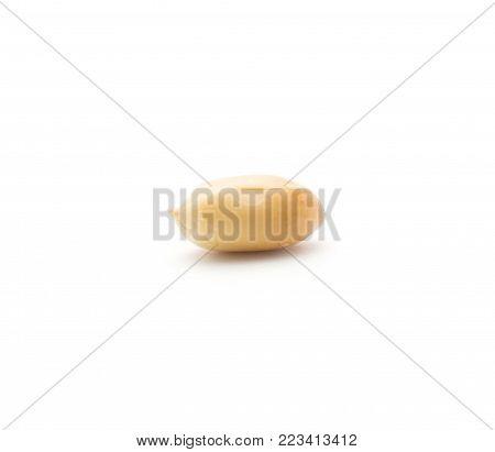 One raw peanut without husk isolated on white background