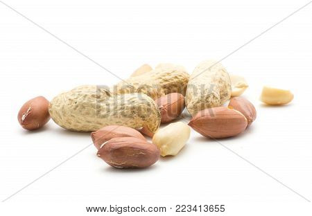 Peanuts set isolated on white background (shelled in husk, unshelled, halves without husk)