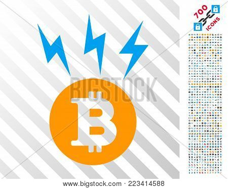 Bitcoin Lightnings icon with 700 bonus bitcoin mining and blockchain images. Vector illustration style is flat iconic symbols designed for bitcoin software.