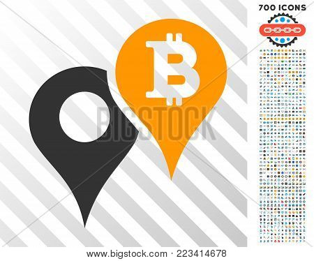 Bitcoin Map Markers pictograph with 7 hundred bonus bitcoin mining and blockchain design elements. Vector illustration style is flat iconic symbols designed for bitcoin apps.