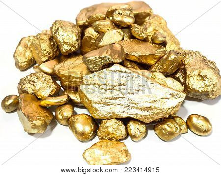 group of macro Gold ore in the boulder , precious stone on white background