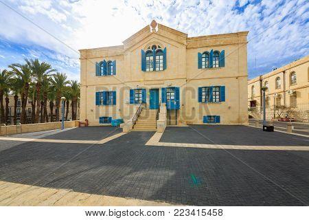 Jerusalem, Israel - Feb 04, 2017: Old Russian Hospital in Jerusalem