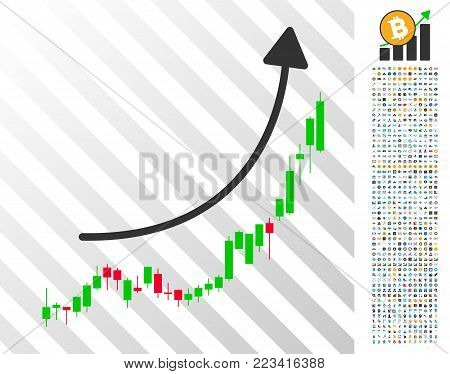 Candlestick Chart Growth Trend pictograph with 700 bonus bitcoin mining and blockchain images. Vector illustration style is flat iconic symbols designed for crypto currency websites.