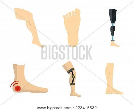 Foot icon set. Flat set of foot vector icons for web design isolated on white background