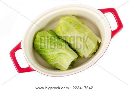 delicious stuffed cabbage rolls in pot over white background