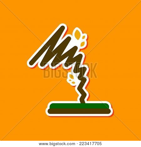 paper sticker on stylish background disaster tornado