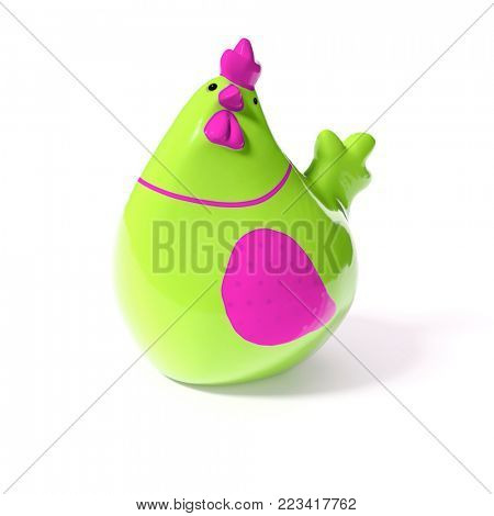 3d illustration of a stylish green and pink ceramic chicken for easter decoration
