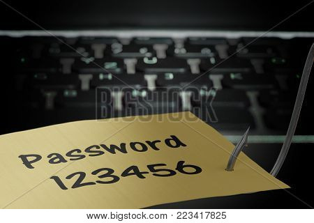 Phishing Concept. Hacker Is Stealing Password With Fishing Hook.