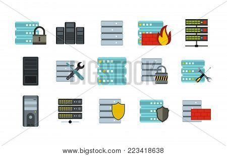 Server icon set. Flat set of server vector icons for web design isolated on white background