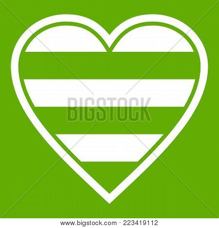 Heart LGBT icon white isolated on green background. Vector illustration