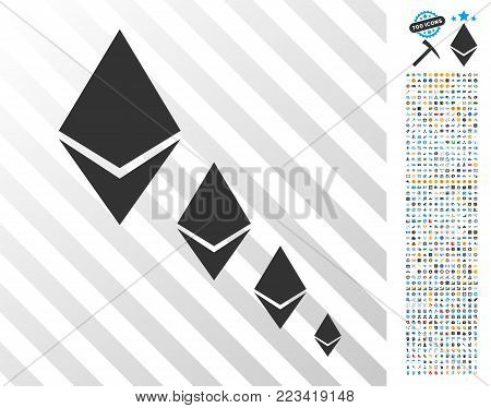 Ethereum Crystal Defaltion pictograph with 700 bonus bitcoin mining and blockchain graphic icons. Vector illustration style is flat iconic symbols designed for crypto currency websites.