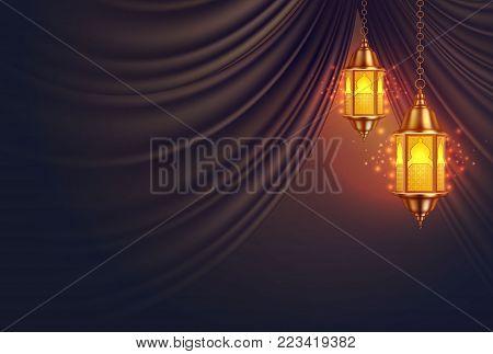 Vector ramadan kareem celebration lamp lantern silk drape curtain realistic 3d illustration. Arabic islam culture festival decoration religious fanoos glowing background Traditional muslim poster card