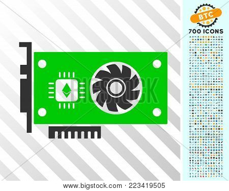 Ethereum Gpu Videocard pictograph with 7 hundred bonus bitcoin mining and blockchain symbols. Vector illustration style is flat iconic symbols designed for cryptocurrency apps.