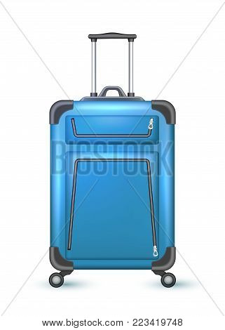 Realistic blue travelling suitcase, bag. Vector voyage plastic luggage case with handle wheels. Summer holiday vacation 3d trip touristic, journey symbol. Isolated illustration, white background