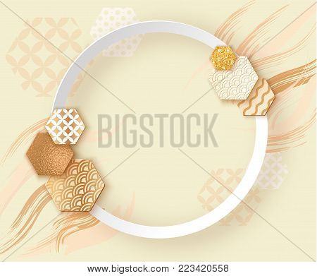 Paper art frame with japan wave pattern, brochure, template or background in trendy geometric style, 3d shapes, gold metal texture, glitter, chinese eastern ornament, trendy vector fashion invitation