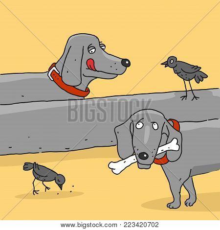 Vector Illustration The Cartoon Dog Dachshund Caricature