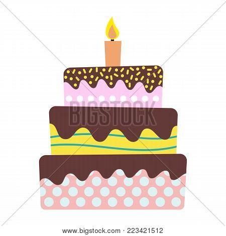 Sweet birthday cake with burning candle. Colorful holiday dessert. Vector celebration background.