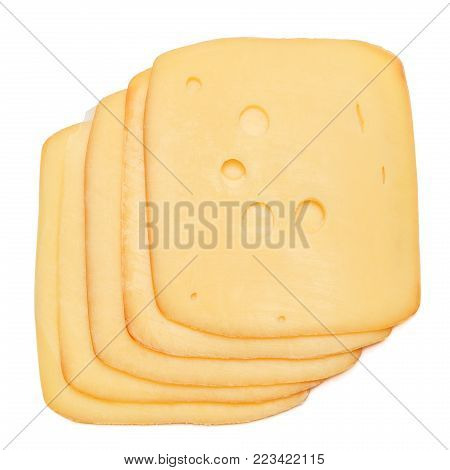 swiss cheese or cheddar isolated on white background