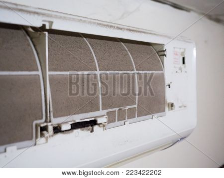 Home Air Conditioner's Filter Choke With Fully Of Dust, Dirty Filter.