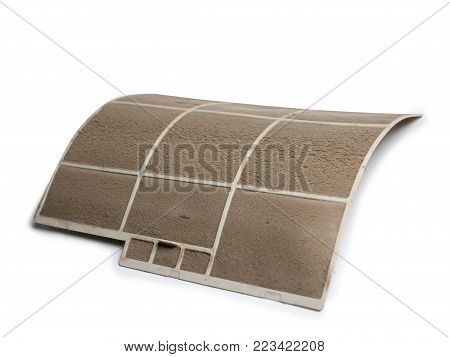 Home Air Conditioner's Filter Choke With Fully Of Dust, Dirty Filter Isolated On White Background An