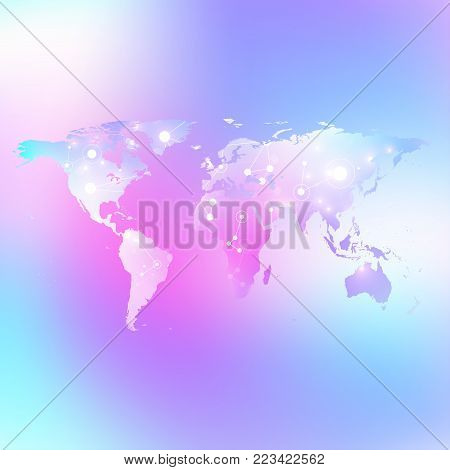 World map trendy liquid colors background. Global technology networking concept. Global network connections. Lines plexus background. Big Data communication. Perspective backdrop