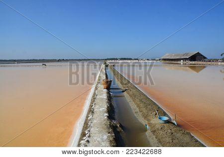 Salt evaporation ponds, also called salterns, salt works or salt pans
