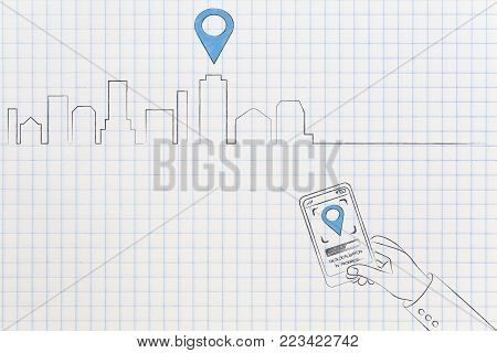 location services technology: skyline with GPS icon over one building and user with smartphone and location symbol on screen