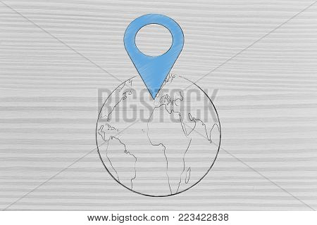 location services technology: world map with oversize GPS location symbol on it