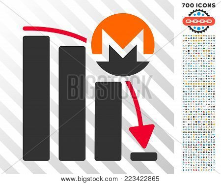 Monero Falling Acceleration Chart pictograph with 700 bonus bitcoin mining and blockchain pictographs. Vector illustration style is flat iconic symbols designed for crypto-currency apps.
