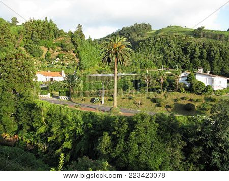 Furnas village situated in a caldera with lush vegetation on Sao Miguel island, The Azores